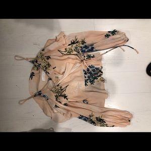 ASTR the label blush floral tie front blouse